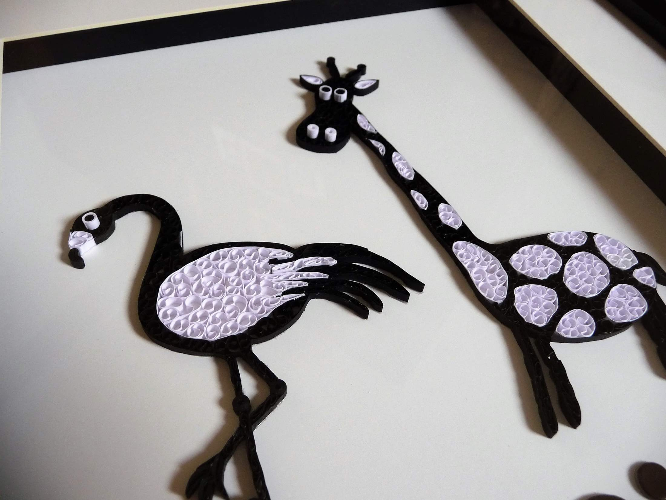 Quilling by kath Quilled Flamingo Giraffe Black and White 1