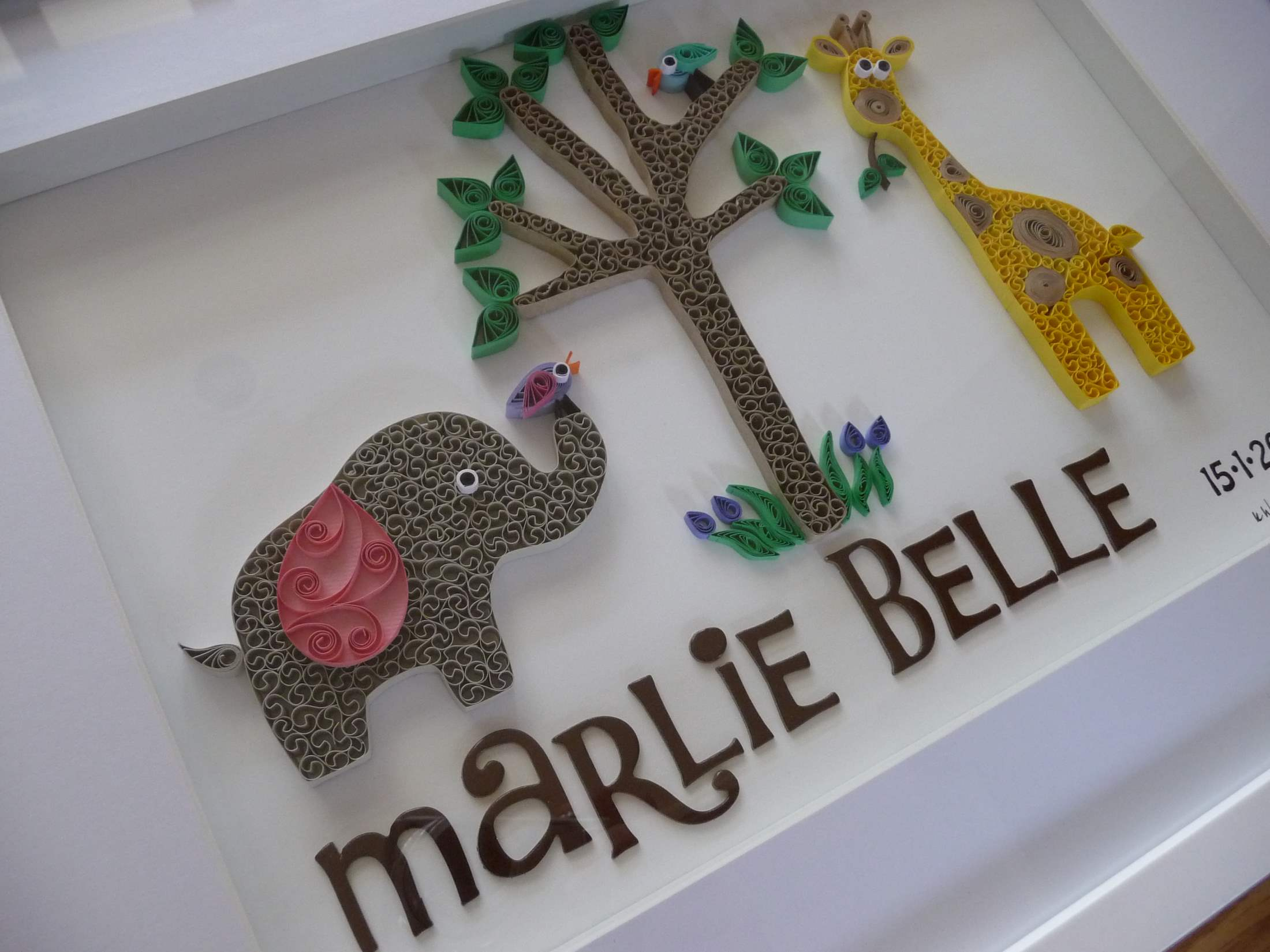 Quilling by kath elephant anf giraffe birth announcement 1