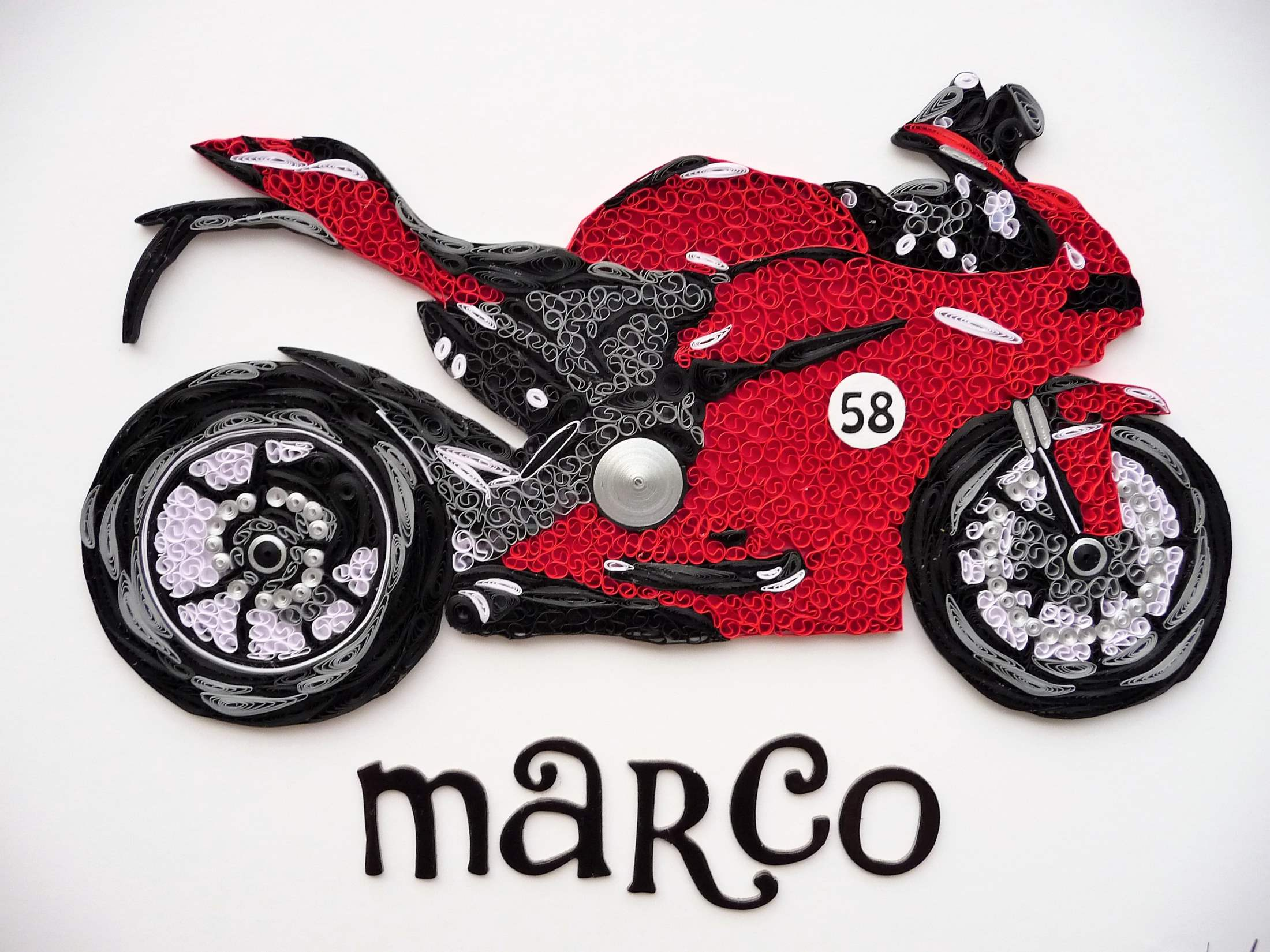 Quilling by kath Quilled red ducati motorbike 1